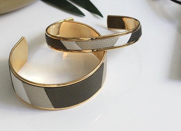 MANCHETTE cuir Or blanc, Kaki bronze et Blanc (10mm)