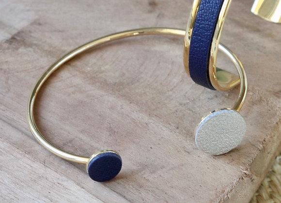 JONC cuir Bleu marine et Or blanc