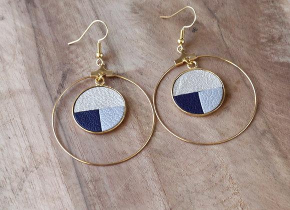 BOUCLES D'OREILLES CREOLES cuir Or blanc, Bleu marine et Gris clair métallisé