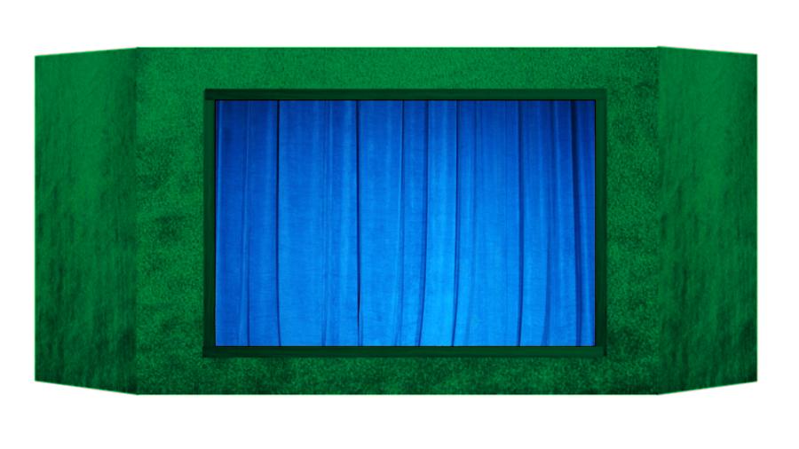 Casinha de fantoches - Azul verde
