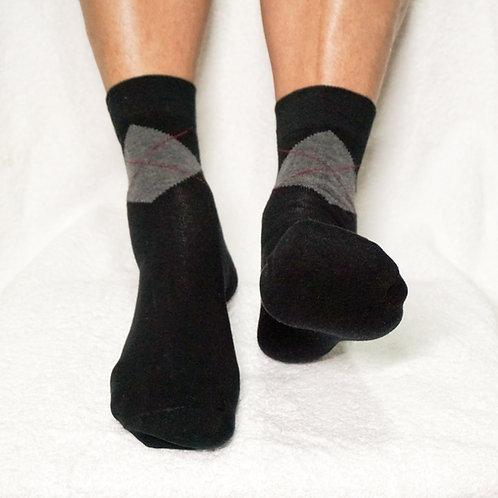 Pedisil Gel Klassieke Heren Sok met Hielbescherming – zwart geruit