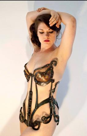 Ellen Durkan wearing one of her corset creations taken from her Facebook pave