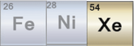 Periodic table squares for Iron, Nickle, and Xenon