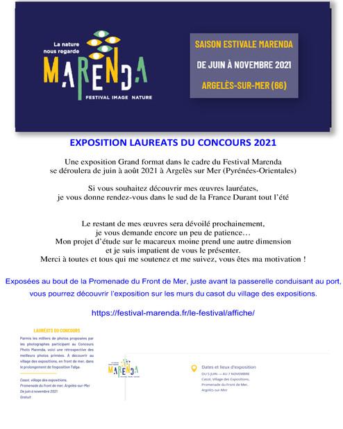 Festival Marenda - EXPOSITION LAUREATS       CONCOURS 2021