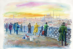 Istambul paintings watercolours, fisherman