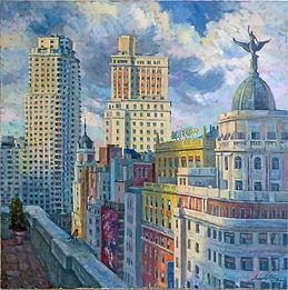 Torre de Madrid, Edificio España, Gran Via, Cuadros de la gran via, terrazas de Madrid, Cuadros de Madrid, Juan del Pozo