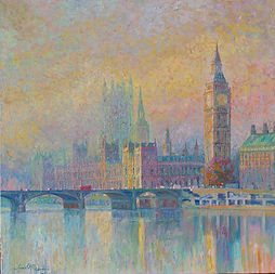 Gold Big Ben, Westminster, London Paintings, Thames, impressionist, golden, Juan del Pozo