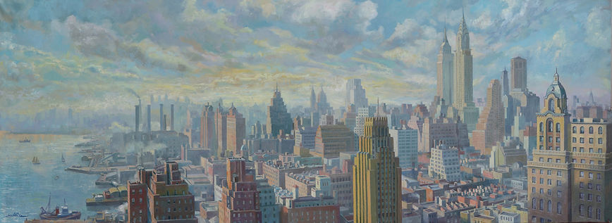 Manhattan buildings, architecture , New York Paintings, Juan del Pozo