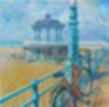 Brighton Bandstand, wedding, red Bike, promenade, Brighton paintings, impresionismo, Juan del Pozo