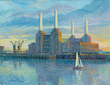 Battersea, London, Thames, Sailing, boat, London Paintings, Juan del Pozo, Battersea Power Station