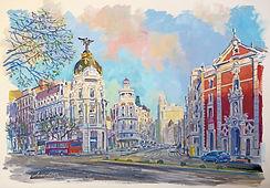 Acuarelas de Madrid, cuadros de la Gran Via