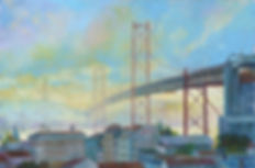 Ponte 25 de abril, Lisboa, pinturas de Lisboa, red Bridge, Juan del Pozo, Lisbon Paintings