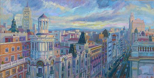 De Madrid al cielo, cuadros de Madrid, cuadros de la Gran Vía, Juan del Pozo, Edificios de Gran Vía, arquitectura