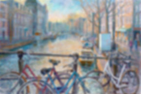 Amsterdam cycles, Amsterdam paintings, bike paintings, Amsterdam lights, Juan del Pozo, Holland paintings