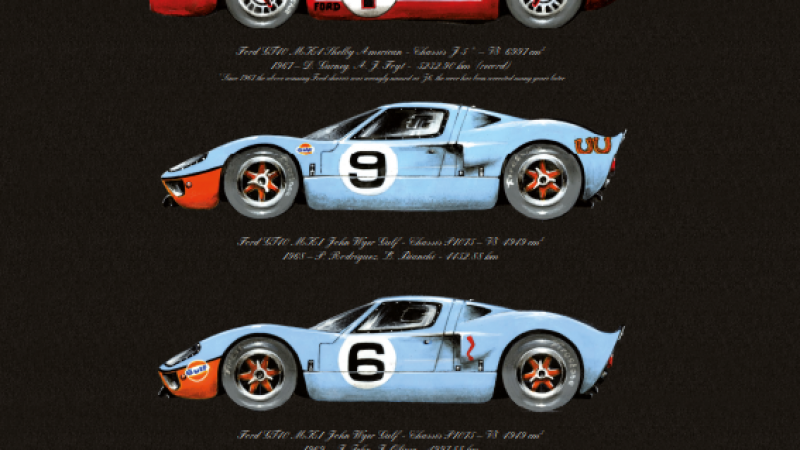 Le Mans 24 Hours Ford Winners Sage - High Quality Print - limited edition of 150