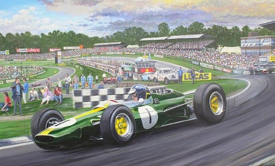 Jim Clark, Lotus33 Climax ,Paddock Bend, Brands Hatch, British Grand Prix
