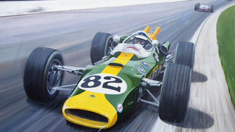 "Jim Clark, Lotus 38 Indy 500 winner. ""The Greatest Victory"" Andrew Kitson Print"