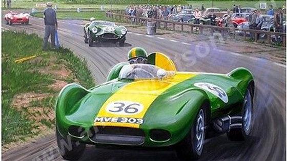 Archie Scott Brown,1957 Lister Jaguar , Snetterton,Autographed Brian.Lister