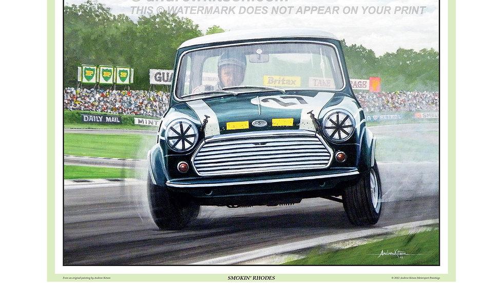 """""""Smoking Rhodes """" John Rhodes Austin Mini Cooper S- Brands Hatch"""