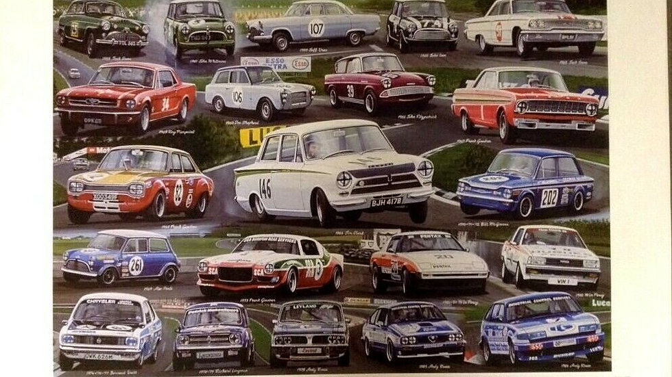 Two Racing prints 50 Years of British Touring Car Champions 1958-84, & 1985-2007