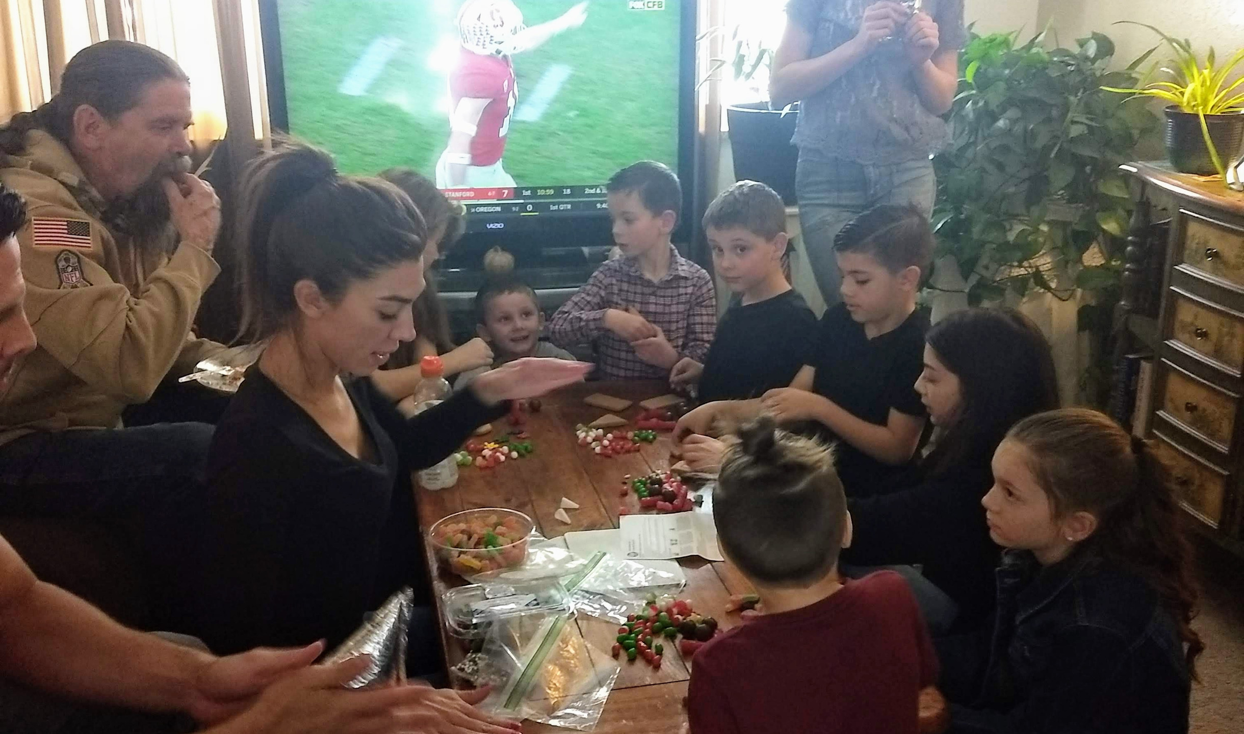 The kids making gingerbread houses!