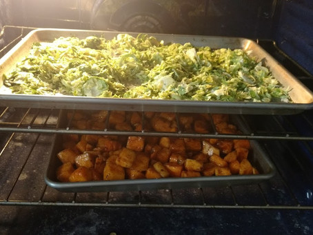 Brussels Sprouts and Butternut Squash Salad (sometimes you just have to make do)