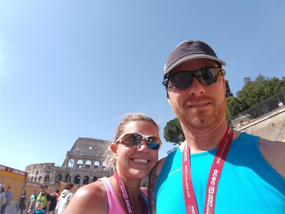 At the finish of the Rome Marathon