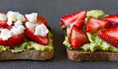 Avocado-Strawberry Goat Cheese Toast