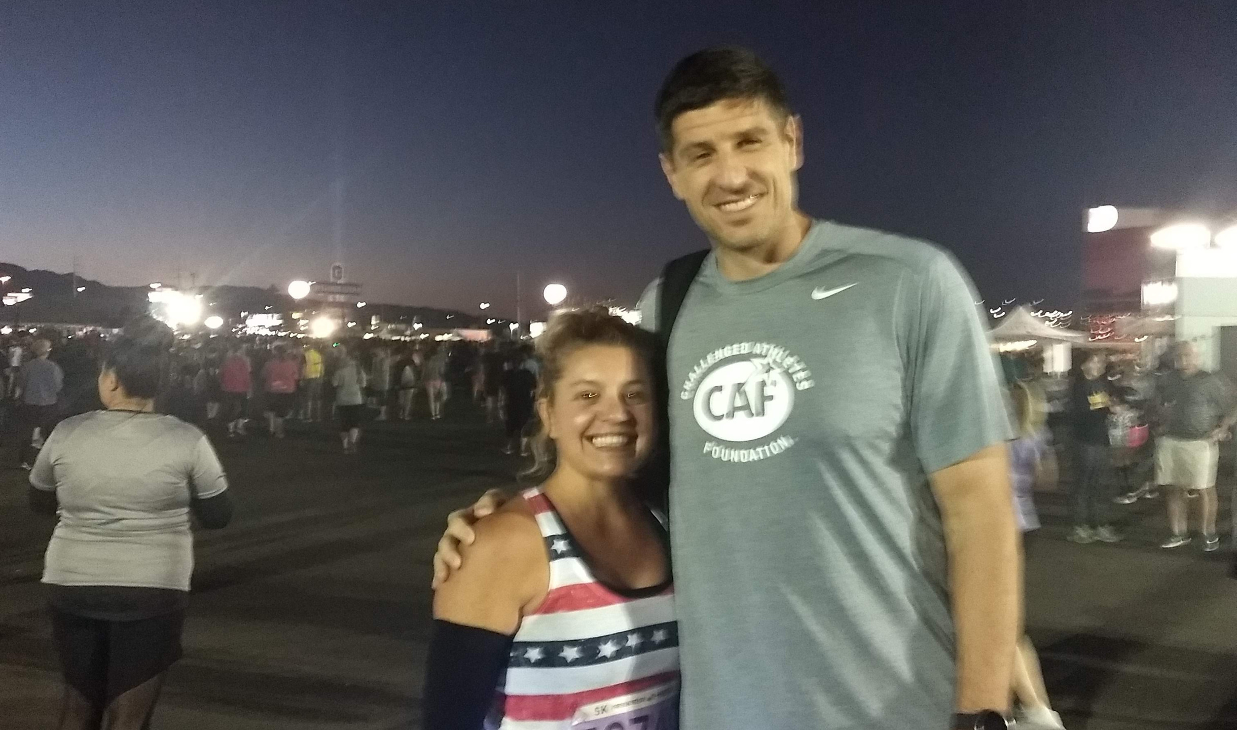 """Me and Sebastien. I am on my tip toes. Yes, he is tall! 6'9"""""""