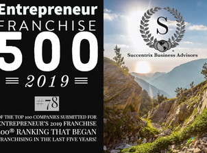 Voted In Top 100 Companies Submitted For Entrepreneur's  2019 FRANCHISE 500!