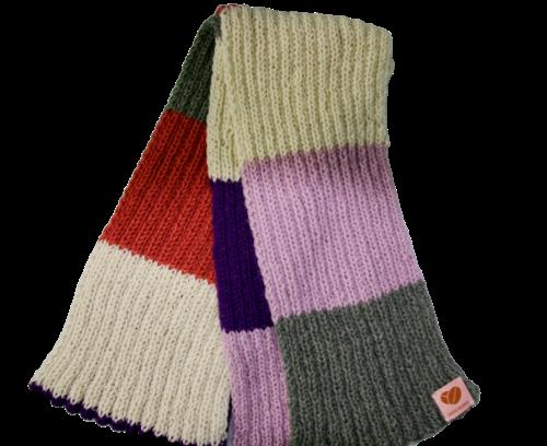 The No-Waste merino scarf - purple, lilac, grey, off white, coral