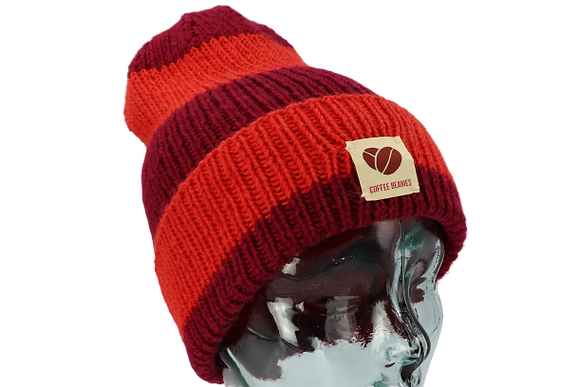 214 The Peace beanie stripes - red on red