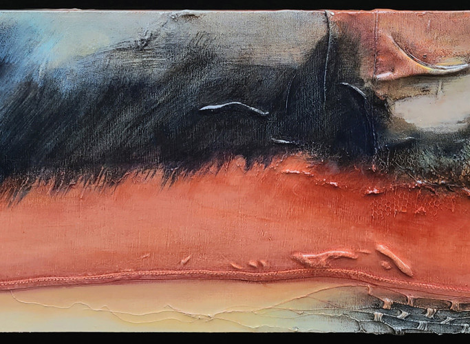 """Night Rushes In 1, 2021, 18""""x6"""", acrylic on garments upon board w/resin"""