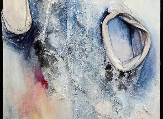 "The Sound of Indigo 2, 2020, 10""x10"", acrylic on garments upon board w/resin"