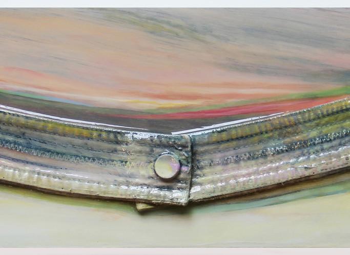 "Waistline Horizon Line 3, 2020, 18""x6"", acrylic on garments upon board w/resin"