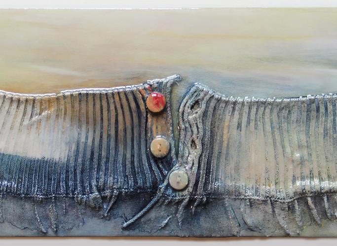 "Waistline Horizon Line 4, 2020, 18""x6"", acrylic on garments upon board w/resin"