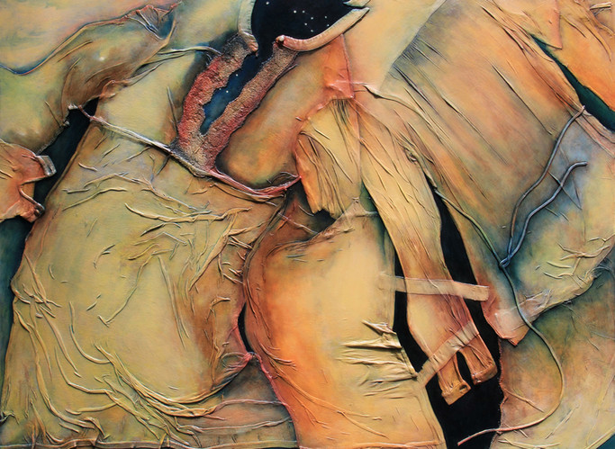 """Voices That Skip Towards Night, 2020, 48""""x36"""", oil on garments upon board"""