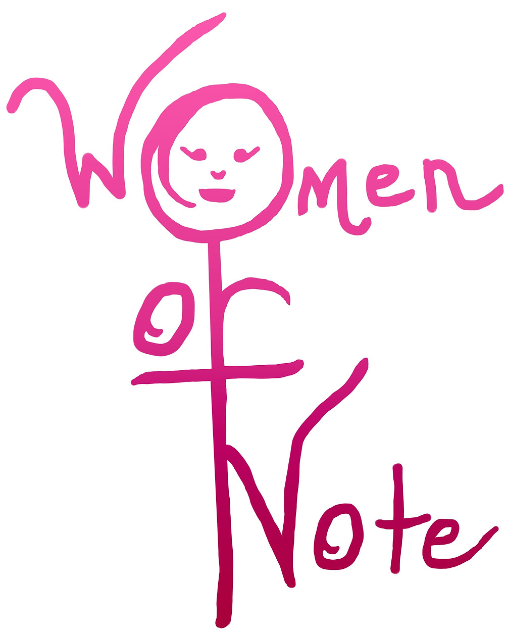 """The words 'Women of Note"""" in pink.  The O in women has a simple face drawn in it, which creates the Greek symbol for the female."""
