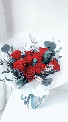 9支特大紅色保鮮玫瑰花束
