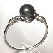 Sterling silver bead ring, handmade in Quebec, Canada.  set with 6mm round hematite bead.