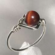 Sterling silver bead ring, handmade in Quebec, Canada.  set with 6mm round tiger eye bead.