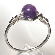 Sterling silver bead ring, handmade in Quebec, Canada.  set with 6mm round amethyst bead.
