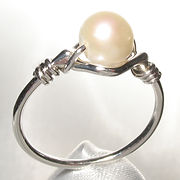 Sterling silver bead ring, handmade in Quebec, Canada.  set with 6mm round fresh water pearl.