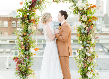 Ethereal Rooftop Autumn Elopement Editorial     Los Angeles, CA