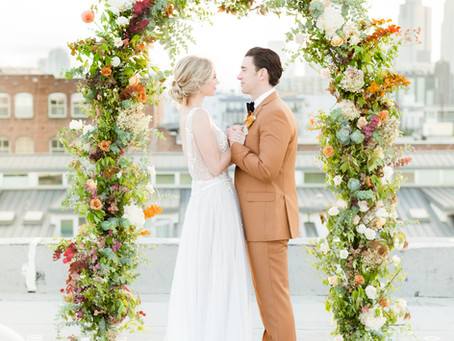 Ethereal Rooftop Autumn Elopement Editorial  |  Los Angeles, CA