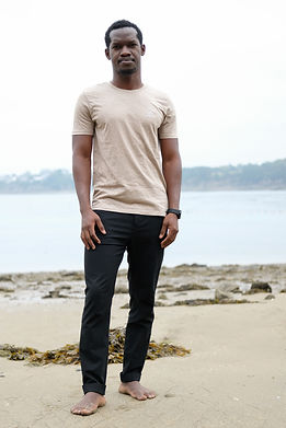 T-shirt col V  coton bio coton vert (2).