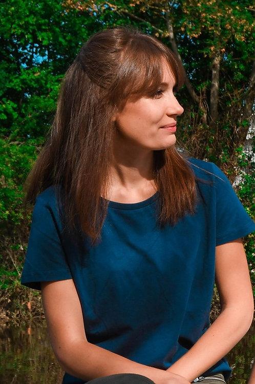 T-shirt Femme bleu en coton BIO