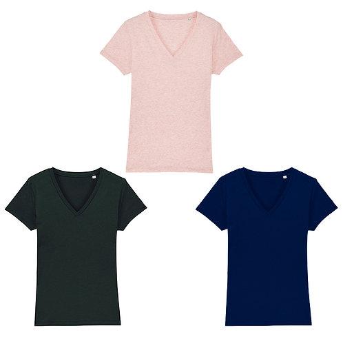 Pack trio - 3 t-shirts femme cols V en coton BIO au choix