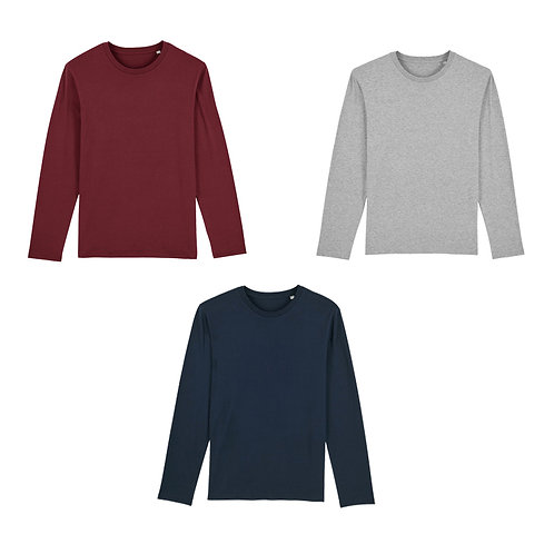 Pack trio - 3 t-shirts manches longues hommes en coton BIO au choix