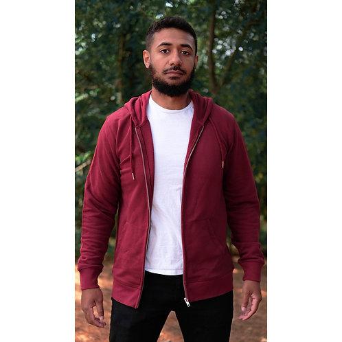Veste capuche zippée mixte bordeaux en coton BIO